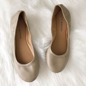 Lucky Brand Tan Nude Emmie Flats Leather sz 8